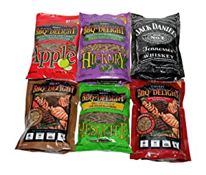 BBQrs Delight Wood Smoking Pellets - Super Smoker Variety Value Pack - 1 Lb. Bag - Apple, Hickory, Mesquite, Cherry, Pecan and Jack Daniel's