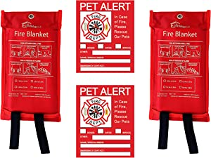 Elite Refuge Pro Emergency Fiberglass Flame Resistant Fire Blanket, 2 Pack Includes 2 Free Pet Alert Stickers and Lifetime Replacement