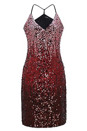 cc0912a6124 Metme Sexy Gradient Sparkling Sequins Dress Halter Neck Strap ...