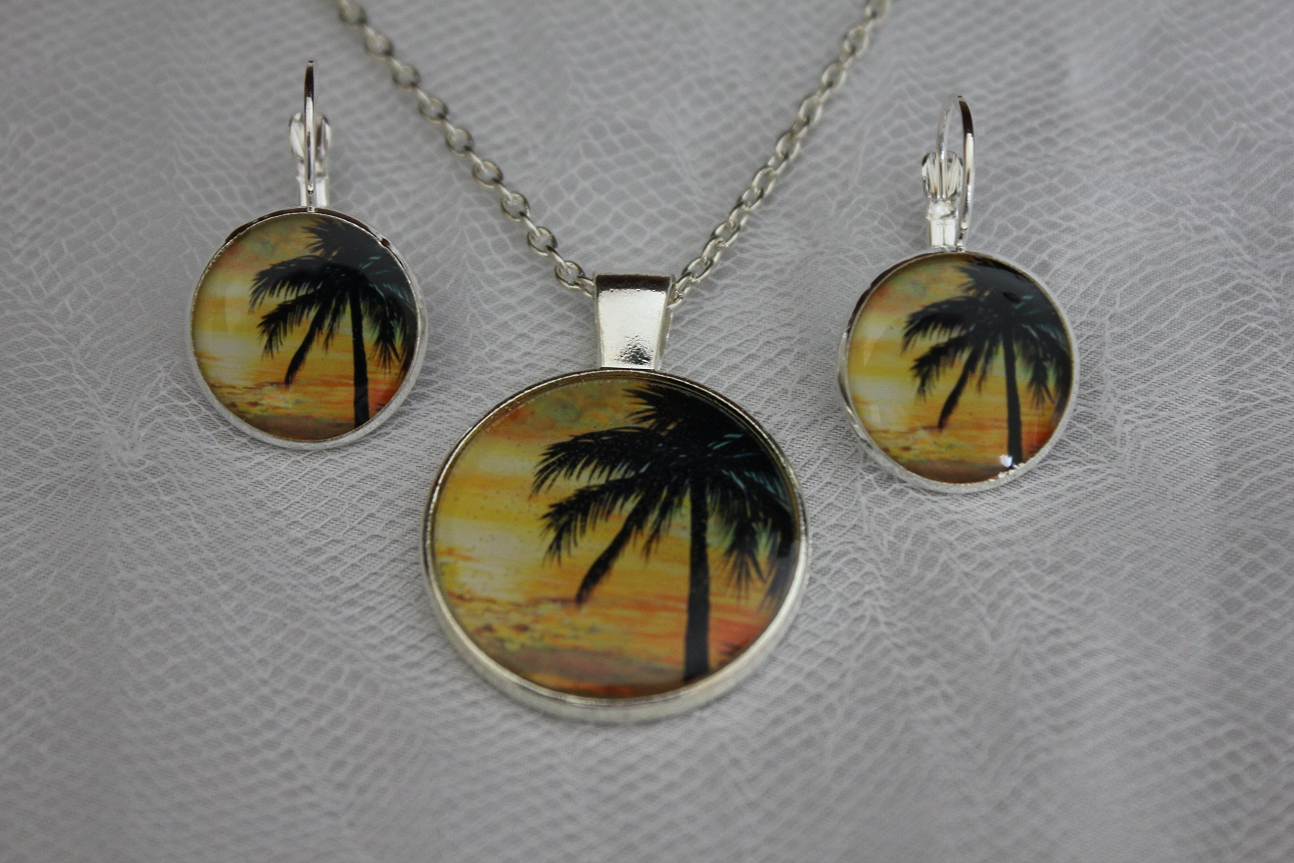 Palm Tree Pendant and Palm Tree Lever Back Earrings, Necklace and Earring Set