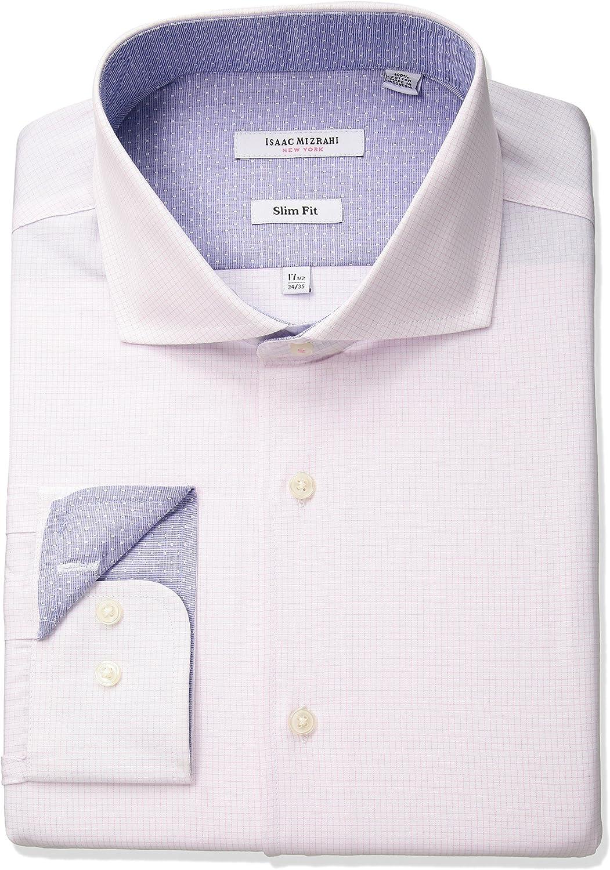 Isaac Mizrahi Mens Slim Fit Check Cut Away Collar Dress Shirt