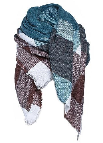 Mujer bufanda XXL Oversized rectangular Patchwork Otoño bufanda suave bufanda bufanda invierno cuadr...