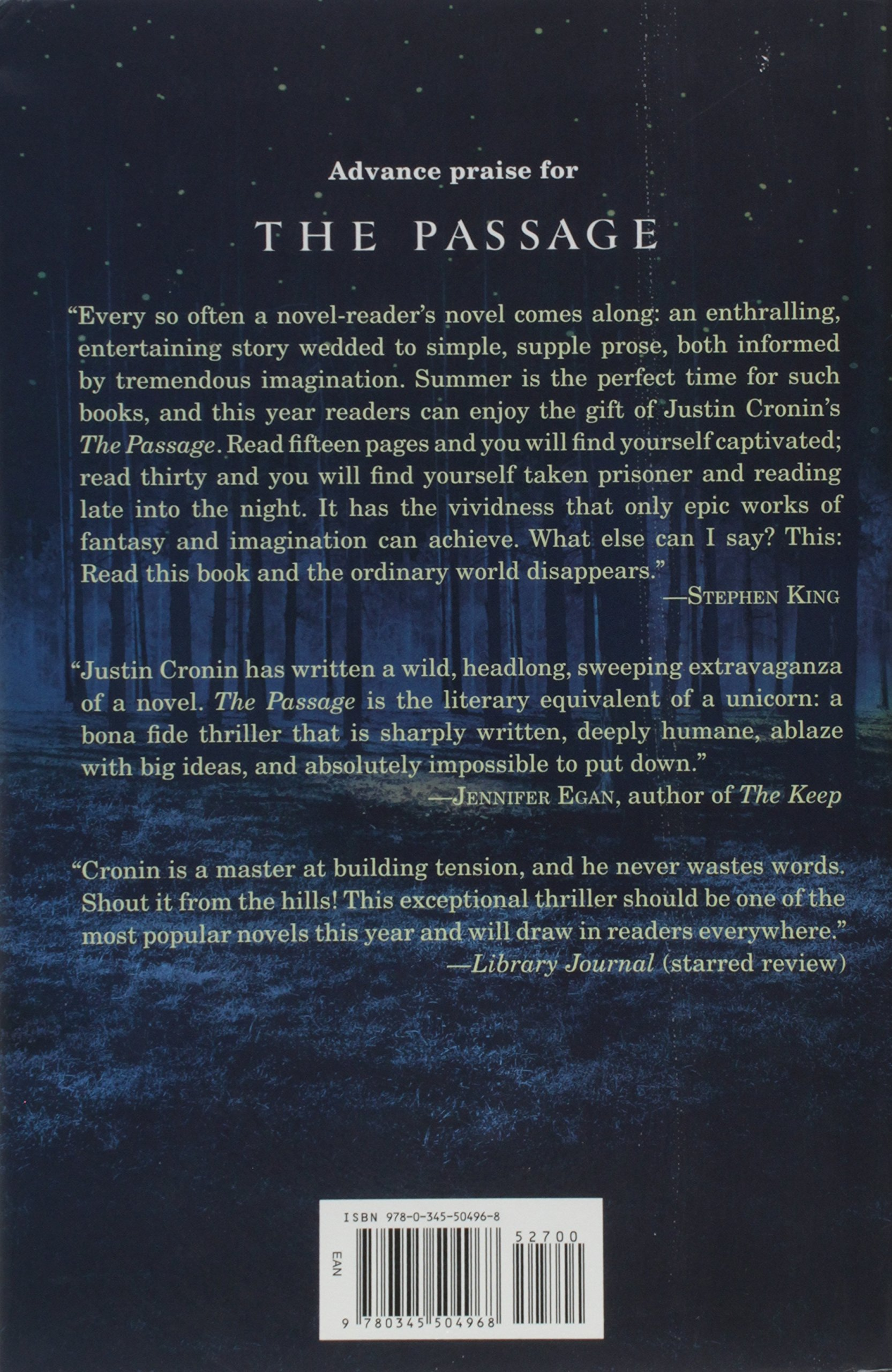 The Passage: A Novel (book One Of The Passage Trilogy): Justin Cronin:  9780345504968: Amazon: Books