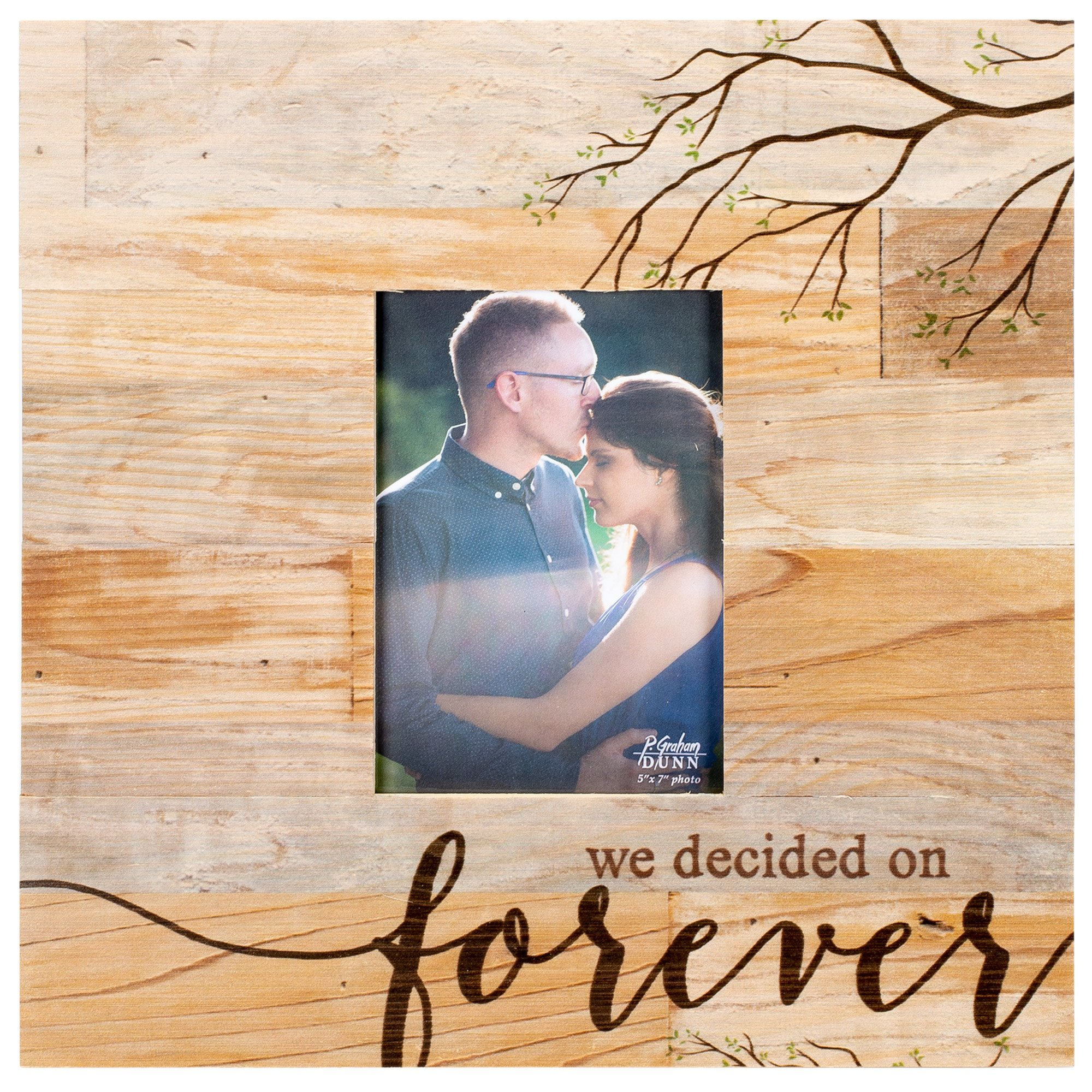 We Decided On Forever Braches Distressed 5 x 7 Solid Pine Wood Tabletop Wall Plaque Photo Frame