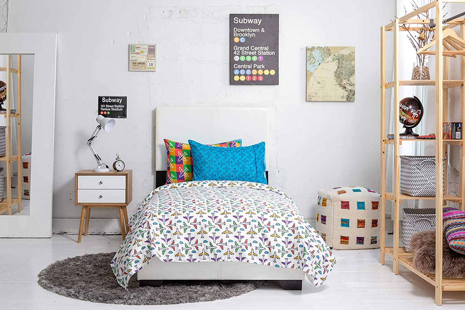 Chital 4Pc Full Linen Sheet Set Super Soft Microfiber- Fits Bed Size: 54 x 75 x 15 Inches Deep Cute Airplane Print Flat /& Fitted Sheets with 2 Pillowcases for Kids Girl Boy /& Adult