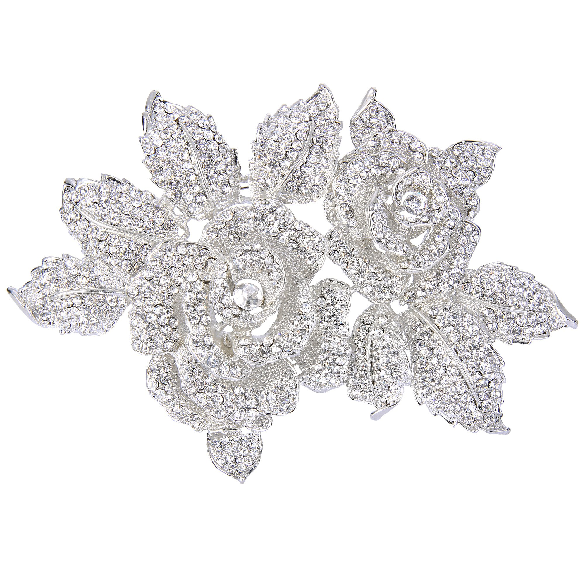 EVER FAITH Austrian Crystal 6 Inch Romantic Blooming Rose Flower Leaf Brooch Clear Silver-Tone