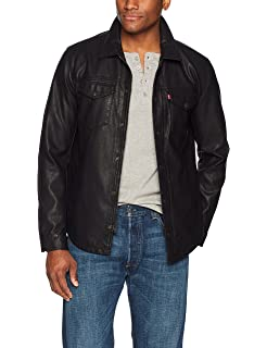 Levis Mens Rugged Faux Leather Racer Jacket with Hood at ...