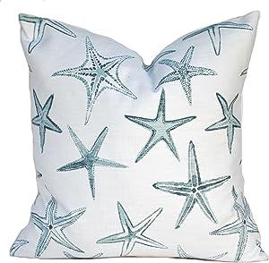 That Dutch Girl Coastal Starfish Pillow Cover, Starfish Cushion, Decorative Throw Pillow, Light Blue Pillow, Accent Pillow, Scott Brothers, Beach, Duck Egg Blue