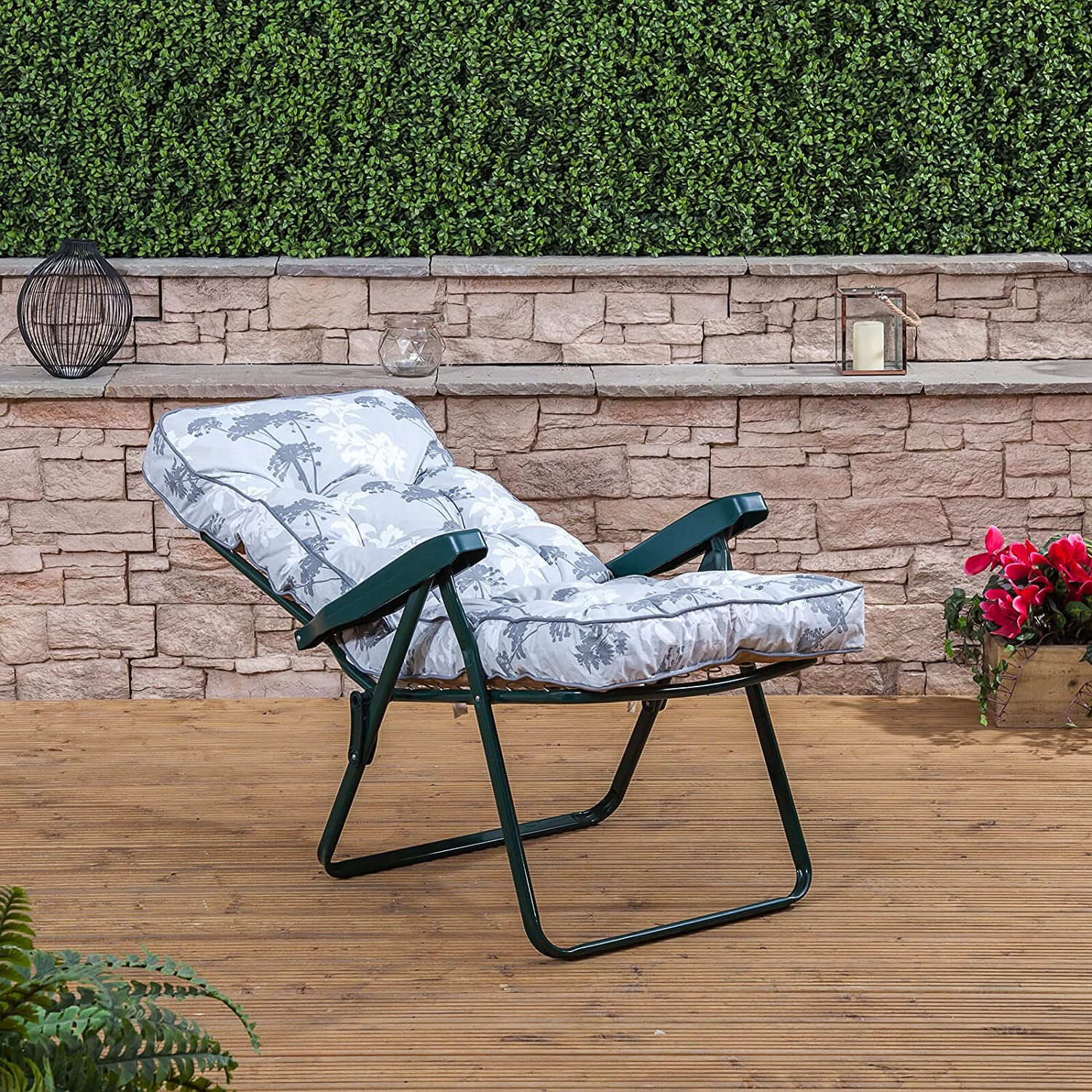 Alfresia Recliner Chair - Green Frame with Classic Green Cushion Francesca Grey