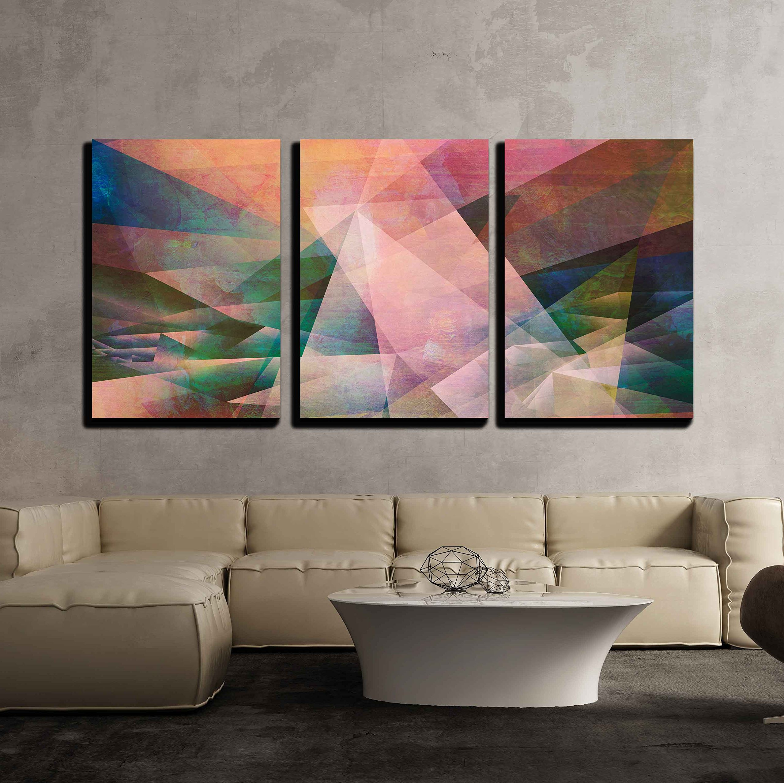 wall26 - 3 Piece Canvas Wall Art - abstract mixed media - created by combining different layers of paint and textures - Modern Home Decor Stretched and Framed Ready to Hang - 16''x24''x3 Panels