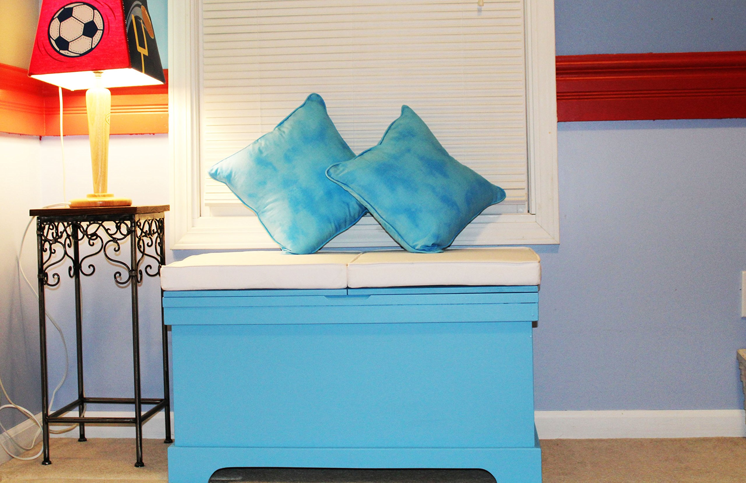FireSkape The Baylee Window Seat Toy Box with Built in Left Hand Oriented Safety Ladder Compartment in Little Boy Blue