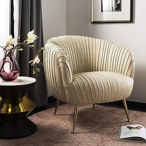 Safavieh Couture Home Ottillia Shell Glam Cream Leather Accent Chair
