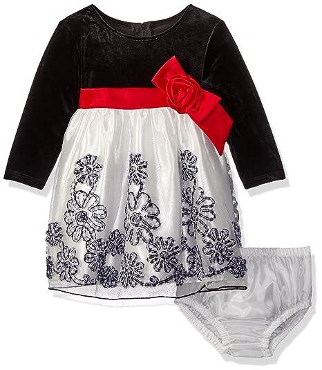 65882e1de9ee7 Bonnie Jean Baby-Girls Satin Velvet Bonaz Flower Holiday Dress, Black  White, 6