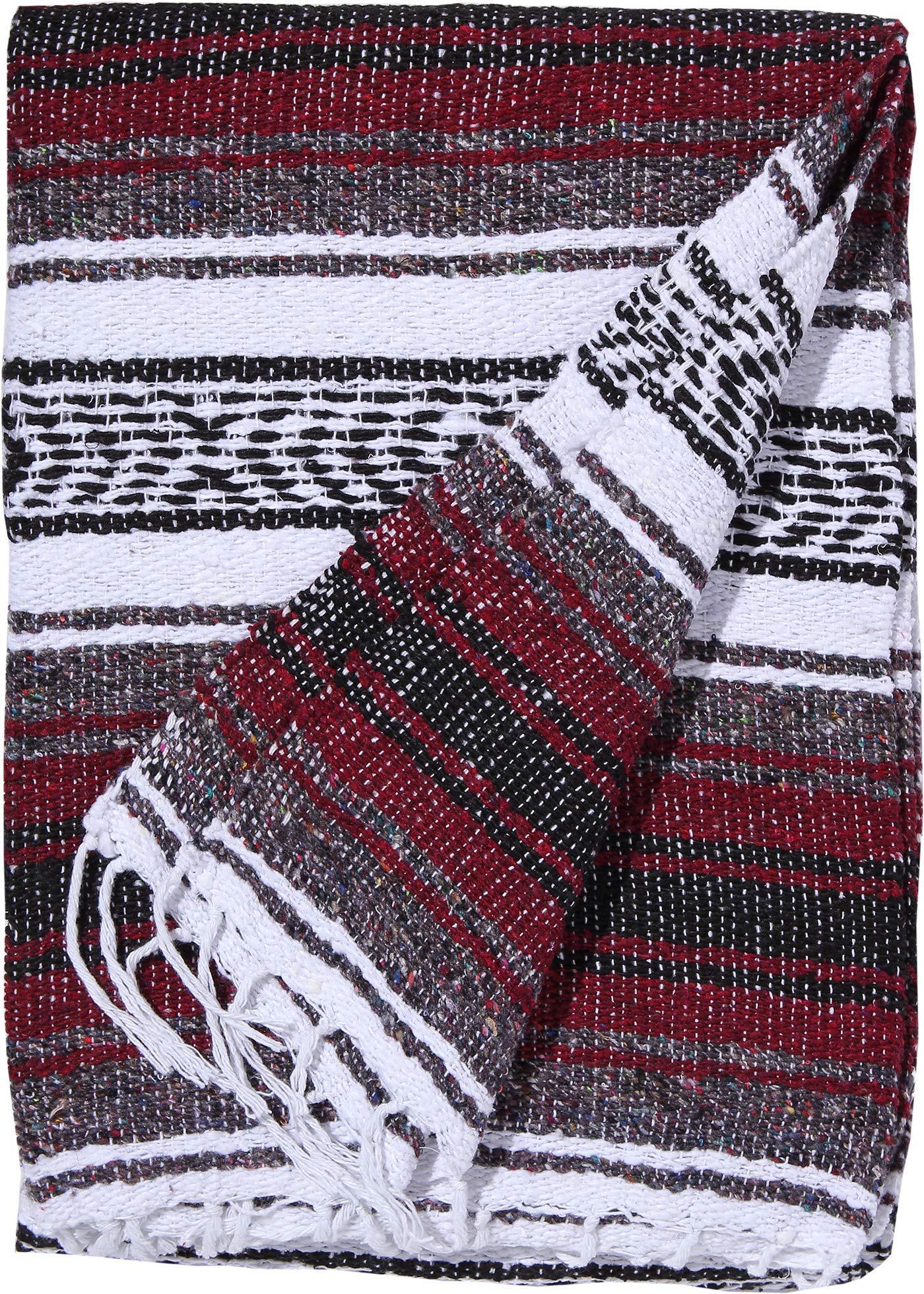 El Paso Designs Genuine Mexican Falsa Blanket - Yoga Studio Blanket, Colorful, Soft Woven Serape Imported from Mexico (Burgundy) by El Paso Designs (Image #2)