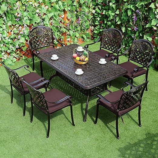 7pcs al aire libre Patio juego de mesa de comedor de aluminio fundido, isla viento jardín patio muebles, 52-Inch X 91, 44 cm Rectangular mesa de comedor con agujero para sombrilla y