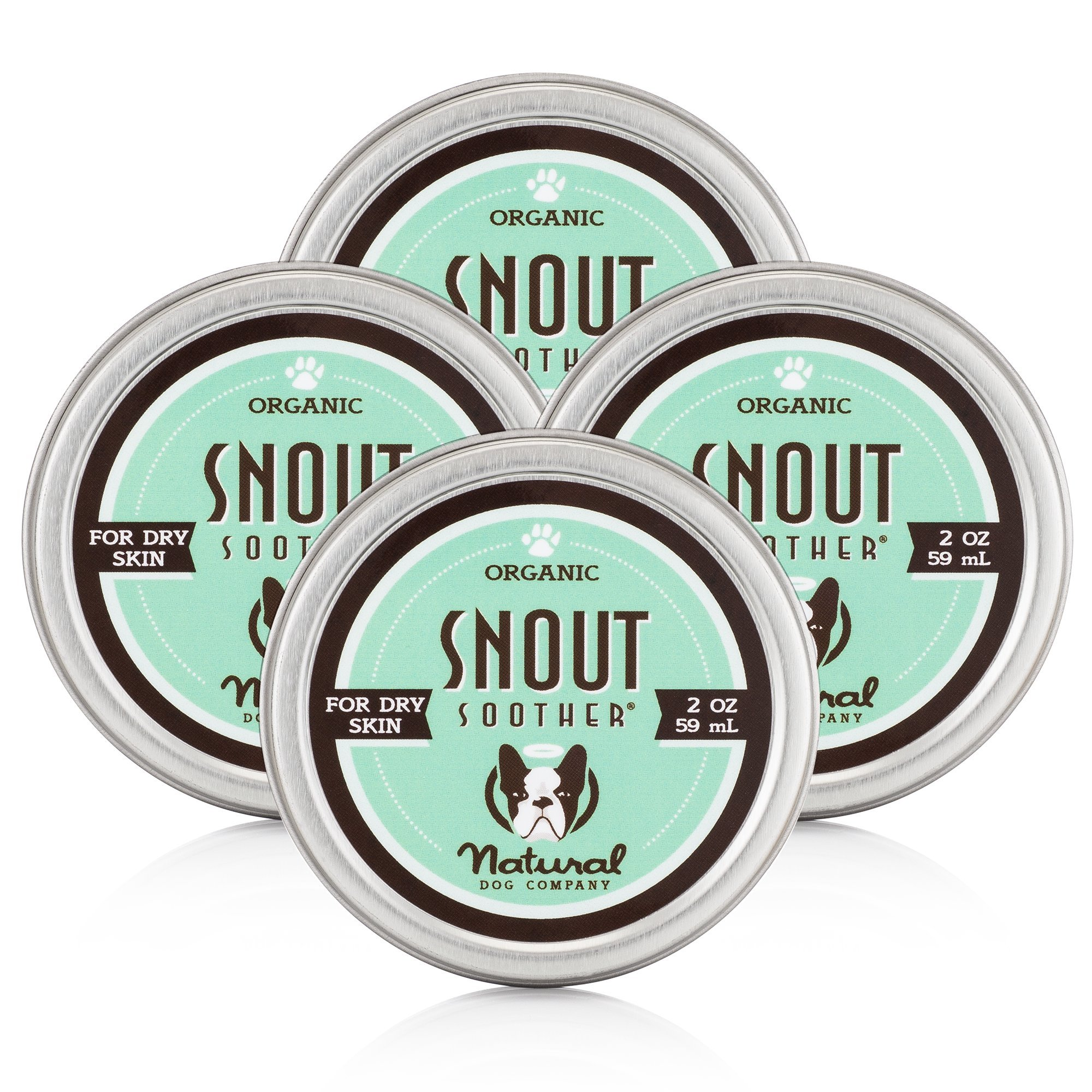 NaturalDog.com SNOUT SOOTHER | Organic, All-Natural | Dry Chapped Cracked Crusty Dog Nose Remedy | 2 oz Tin (4 Pack)