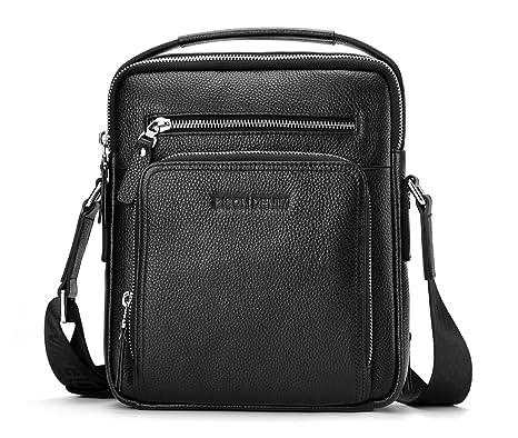 BISON DENIM Multifunction Versatile Leather Handbag Shoulder Bag for Ipad Leisure  Change Packet with Small Bag d09ca4e4d1f41
