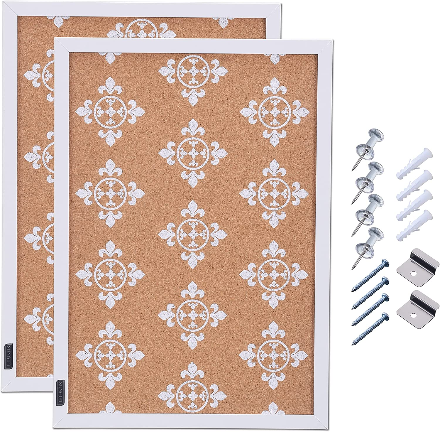 SUNGIFT Cork Bulletin Board 17 x 12 Inches with White Frame Floral Print Cork Tiles 2 Pack Long Cork Board for Wall with Pushpins Corkboards for School, Home, Office, Bedroom Decor