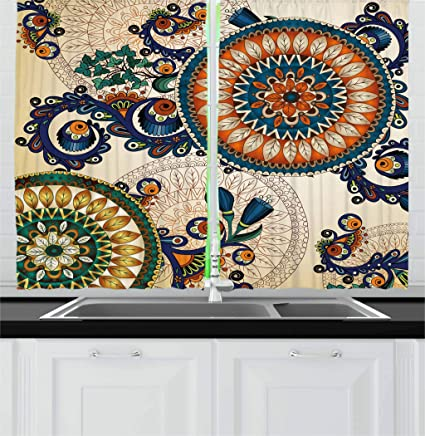 Exceptionnel Ambesonne Ethnic Decor Kitchen Curtains, Floral Arabesque Boho Pattern With  Floral And Peacock Feather Figures
