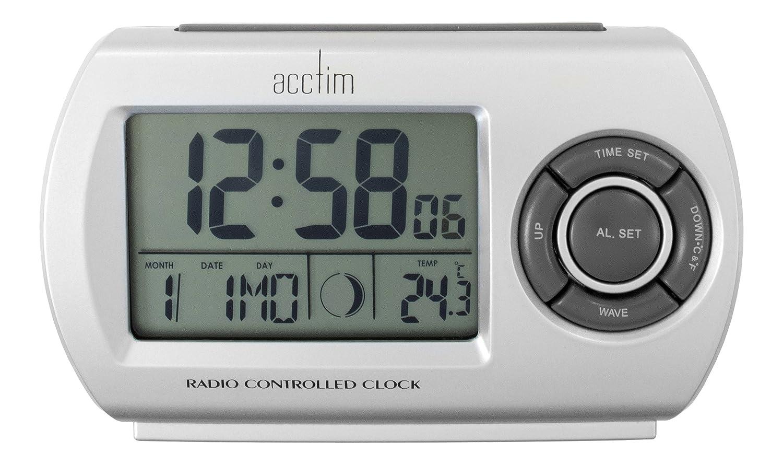 acctim 71117 denio radio controlled alarm clock silver. Black Bedroom Furniture Sets. Home Design Ideas