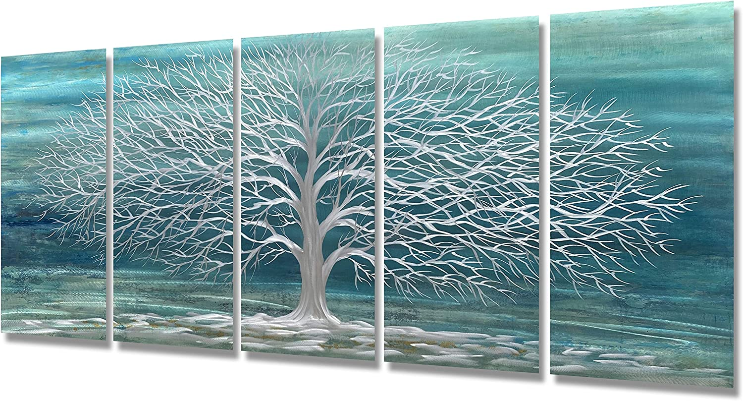 Brilliant Arts Metal Art Wall Decor Teal Tree Sculptures 3D Silver Hangings with Blue Color 5 Piece Panel Nature Artwork for Guest Room