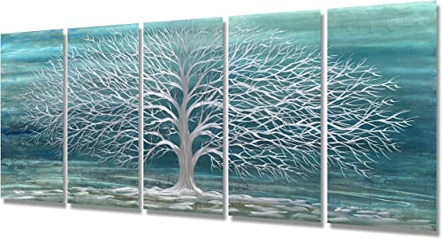 Brilliant Arts Metal Art Wall Decor Teal Tree Sculptures 3D Silver Hanging