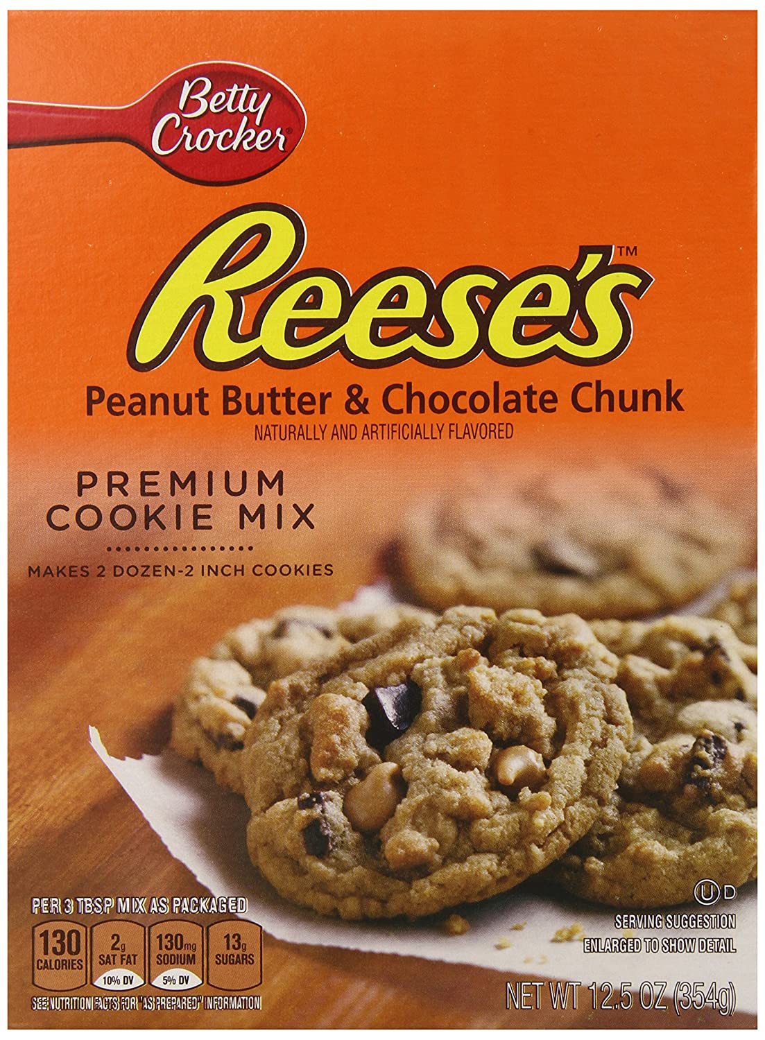 Betty Crocker Reeses Peanut Butter & Chocolate Chunk Premium Cookie Mix - 354 gr: Amazon.es: Alimentación y bebidas