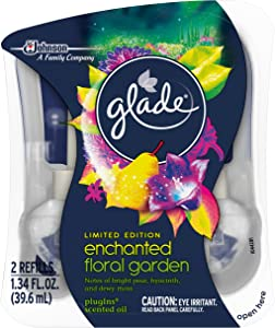 Glade Plugins Scented Oil Air Freshener 2 Piece Refill, Enchanted Floral Garden, 1.34 Fluid Ounce
