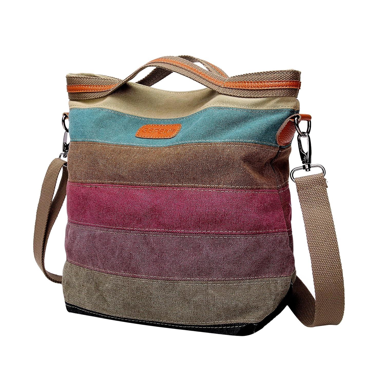 GSPStyle Women Canvas Cross Body Bag Strip Pattern Handbag Totes Shoulder  Bags Messenger 2475899011 ee497dbb0e