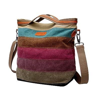 9d39a3480b63 GSPStyle Women Canvas Cross Body Bag Strip Pattern Handbag Totes Shoulder  Bags Messenger