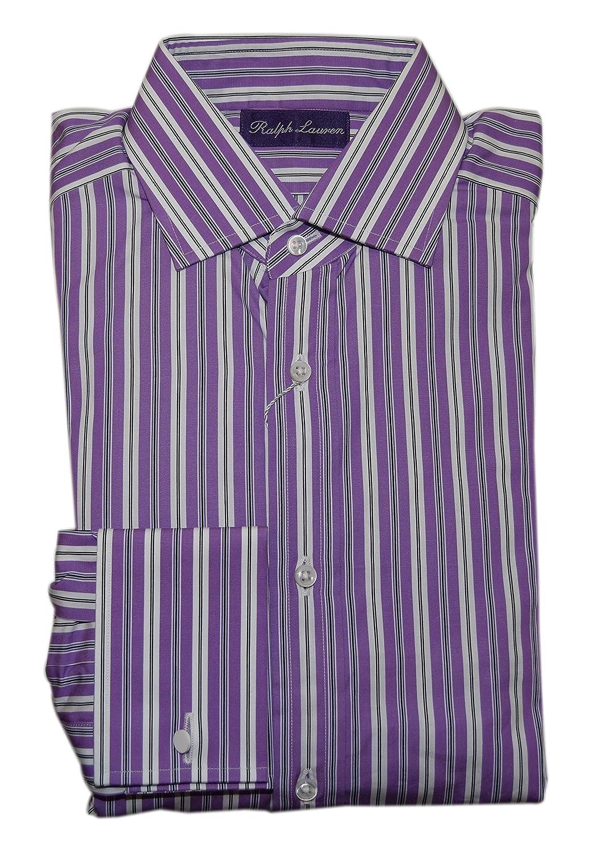 Ralph Lauren Polo Purple Label Men Dress Shirt Purple Stripe French
