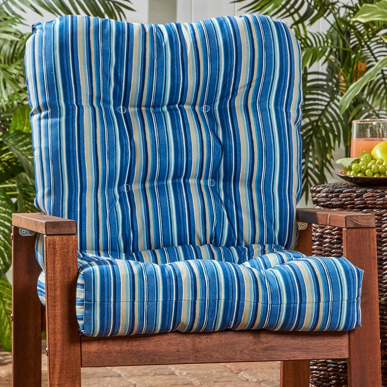 Greendale Home Fashions Outdoor Seat Back Chair Cushion in Coastal Stripe, Sapphire
