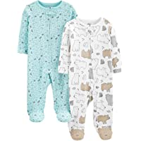 Simple Joys by Carter's Neutral 2-Pack Cotton Footed Sleep and Play Infant-and-Toddler-Bodysuit-Footies Unisex bebé…
