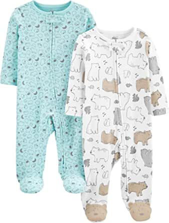 Simple Joys by Carter's Neutral 2-Pack Cotton Footed Sleep and Play Infant-and-Toddler-Bodysuit-Footies Unisex bebé (Pack de 2)