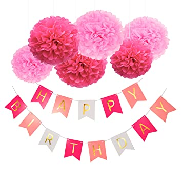 Blulu Feliz Cumpleaños Bunting Guirnaldas Poms Flor ...