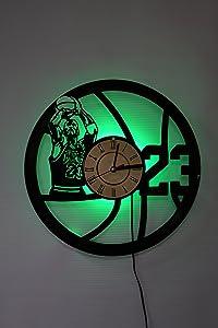Basketball Night Light, Wall Lights, Wall Lamp, Basketball Wall Clock, Cool Rest Room Wall Art Decor (Green)