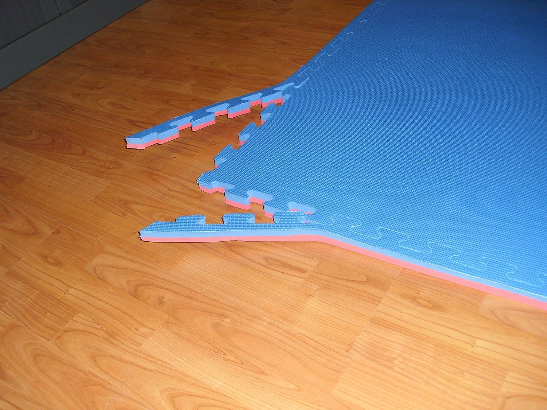 8 metros de tatami puzzle 100 x 100 x 4 cm. rojo//azul