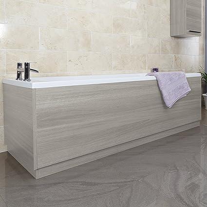 Bathtubs Modern Bathroom Gloss Grey Effect 1700 mm Wooden Wrapped Front Bath Panel