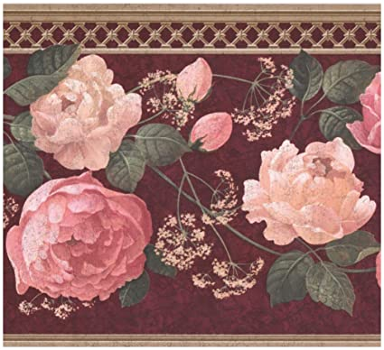 Retro Art Wall Border Pink White Roses Baby Breath Garnet Red