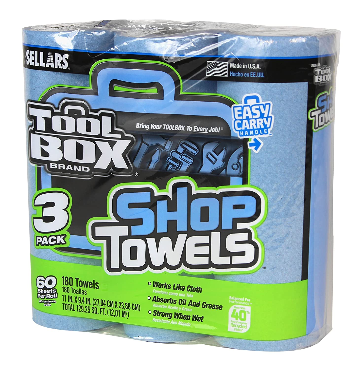 Sellars 54483 ToolBox Shop Towels 3-Pack, 11