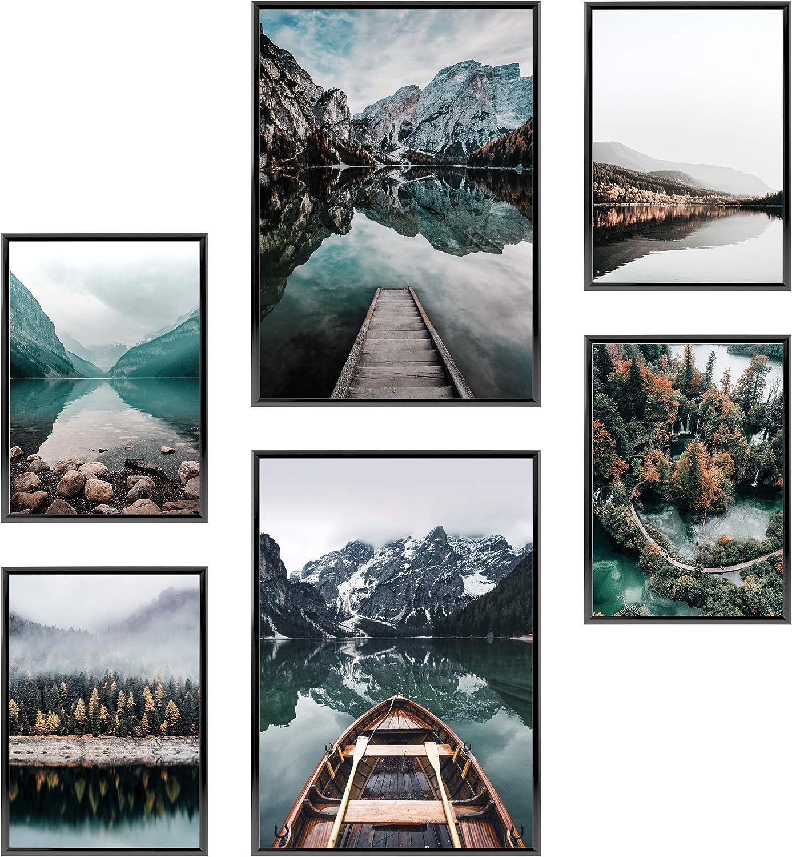 Heimlich Cuadros Decorativos - SIN Marcos -Decoración Colgante para Paredes de Sala, Dormitorios y Cocina - Arte Mural - 2 x A3 & 4 x A4-30x42 & 21x30 | » Lago del Bosque «