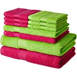 Amazon Brand - Solimo 100% Cotton 10 Piece Towel Set, 500 GSM (Spring Green and Paradise Pink)