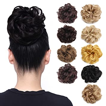 85f8c68f68 Amazon.com : Ryalan Synthetic Hair Bun Extensions Messy Hair Scrunchies  Hair Pieces for Women Hair Donut Updo Ponytail Hairpiece (18#) : Beauty