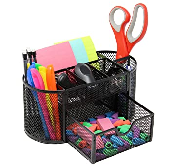 Amazon Com Mesh Desk Organizer Caddy For Office Supplies And