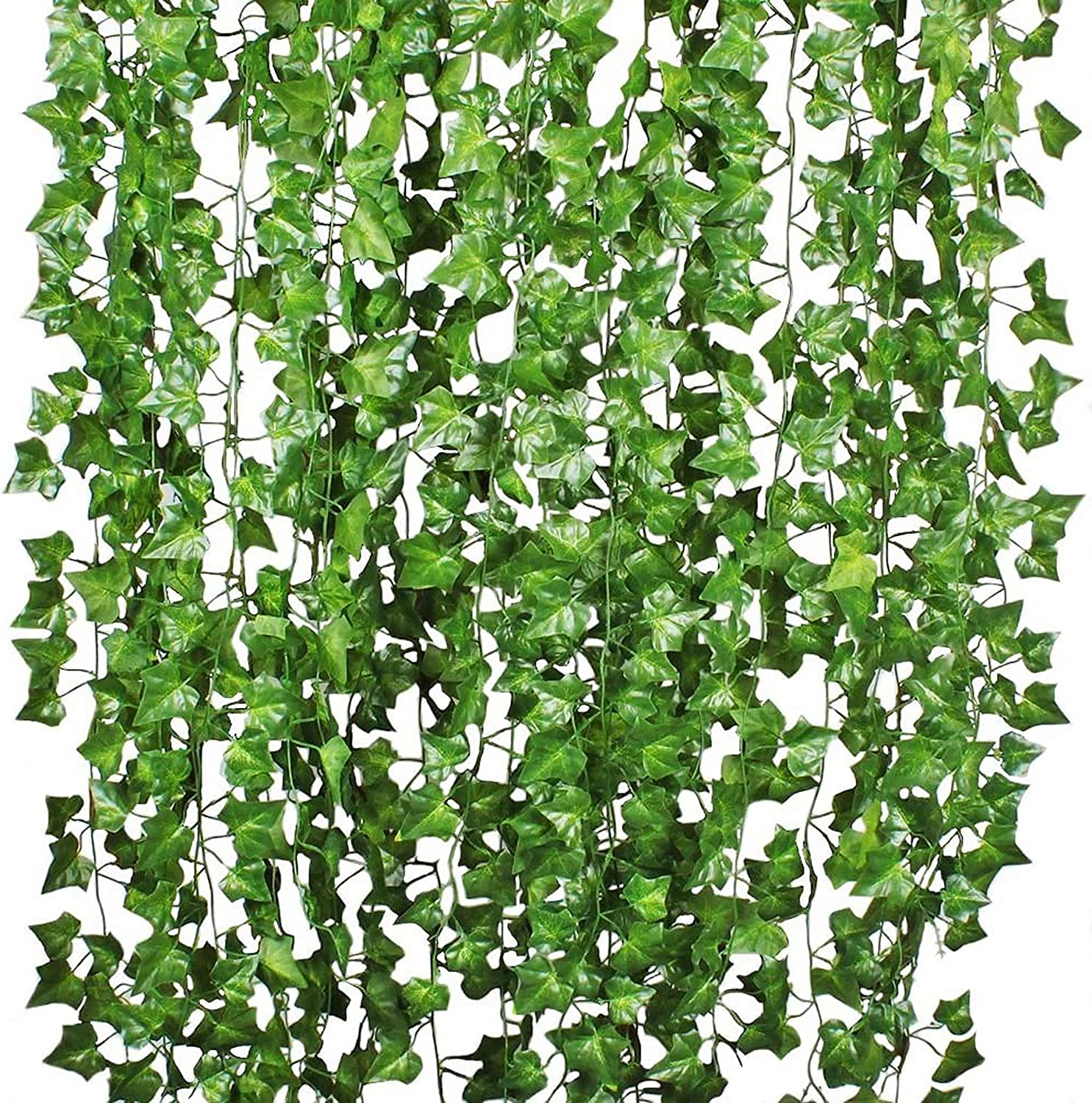 Nice-live Fake Plants Room Decor, 12 Strands of Artificial Ivy Vines Hanging Green Leaf, Greenery Garland Backdrop for Wall Home Kitchen Office Wedding Decorations (Green, Boston Ivy)