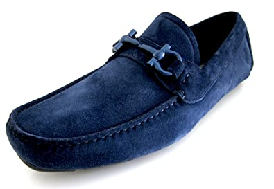 Parigi Mens Blue Loafers Suede Shoes Made in Italy