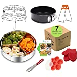 Premium Instant Pot Accessories Set – 7 Pieces Value Pack – Fits 5, 6, 8 QT Pressure Cooker. Steamer Basket, Springform Pan, Egg Rack, Silicone Egg Bites Mold, Bowl Clip, Tong and Silicone Gloves