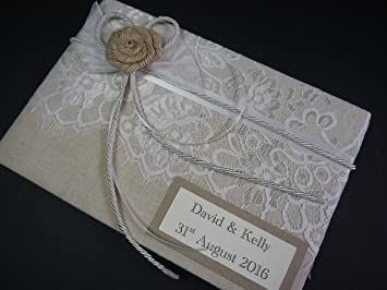 Livre D Or De Mariage Vintage En Toile De Jute Avec Fleur