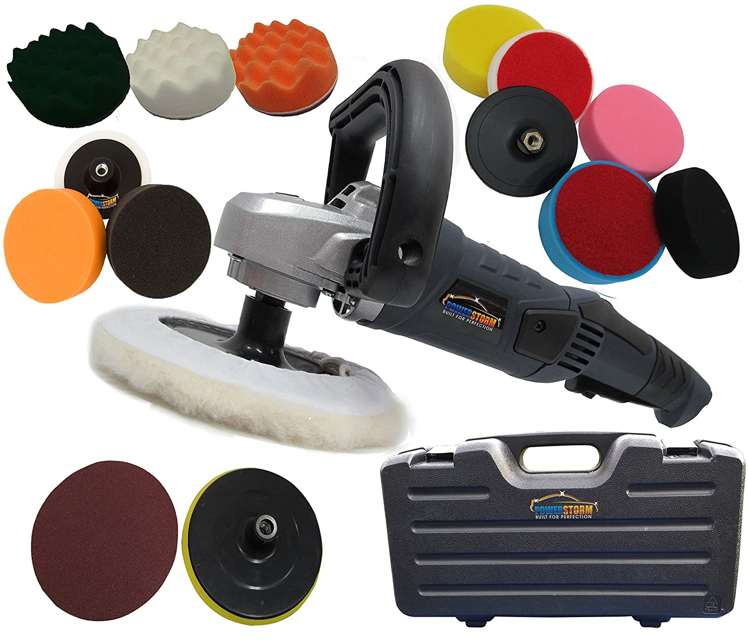PowerStorm® Car Polisher Sander Buffer with Carry Case Plus 15 Car Polisher Heads DELUXE PLATINUM Pack Platinum Deluxe Pack
