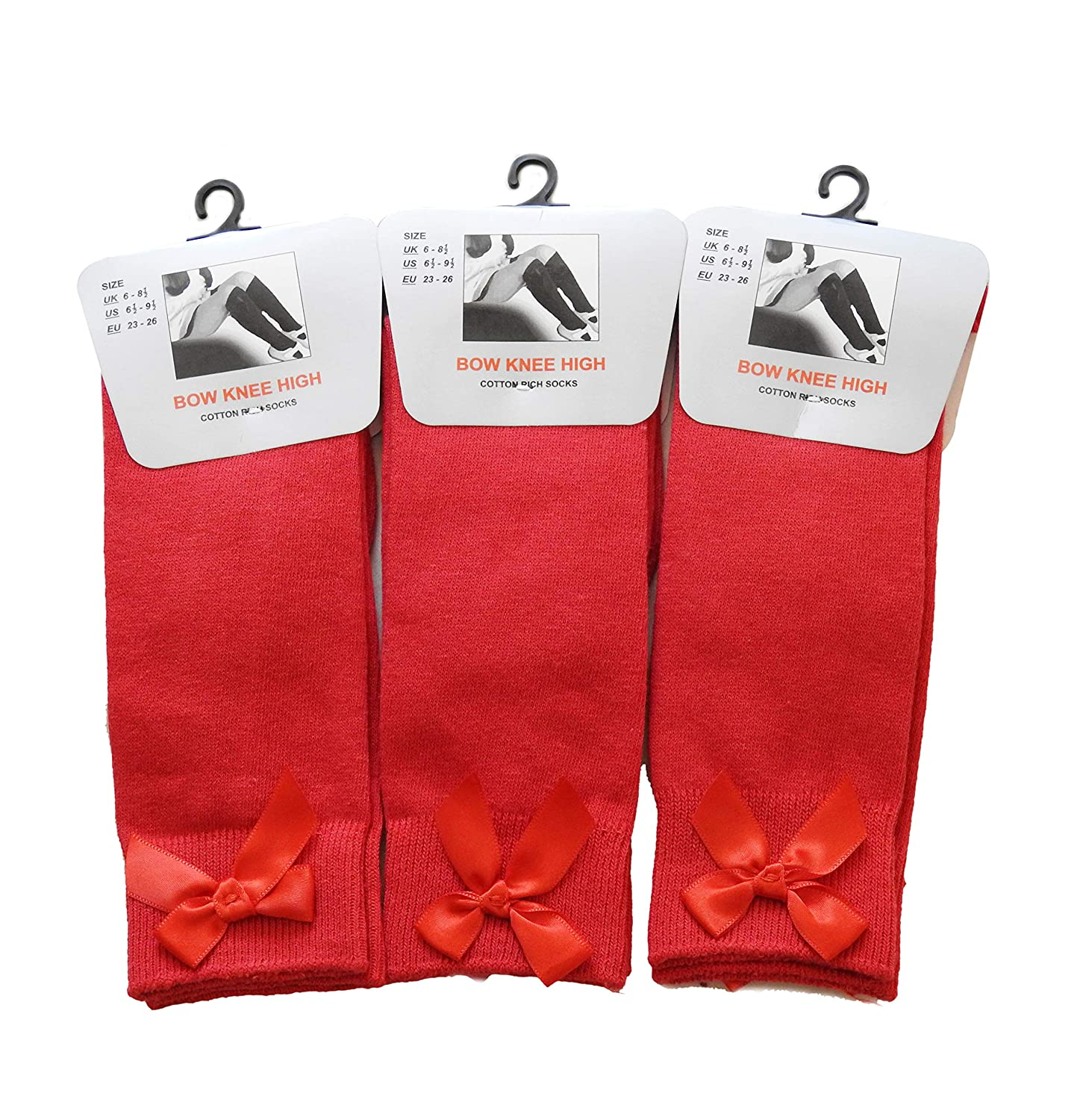 Socks Bow Knee High 3 pairs School Girls & Kids Plain Long Length Cotton Stretch With all size & colour (Set of 3 pairs)